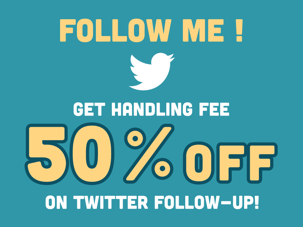 Get handling fee 50%OFF on Twitter follow-up!